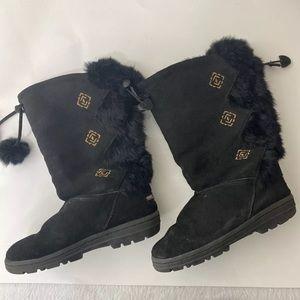Minnetoka Black Suede Boots Size 6